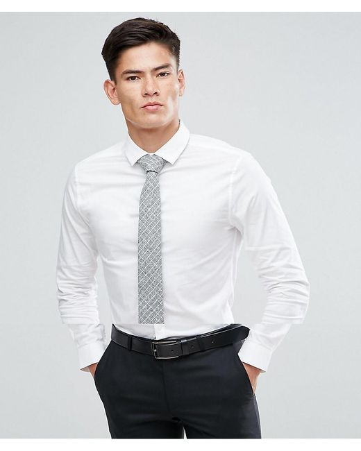 ASOS - Skinny Shirt In White With Grey Design Tie Save for Men - Lyst