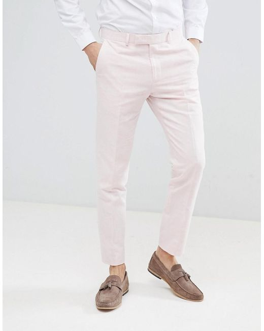 57d28a5f0 Moss Bros - Moss London Wedding Skinny Suit Pants In Light Pink Linen for  Men ...