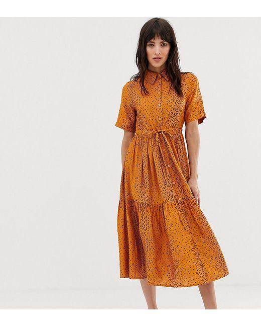 358e63822ada Mango - Orange Button Front Tie Waist Dress In Animal Print - Lyst ...