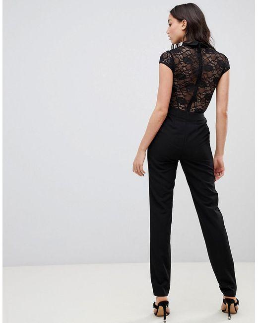 7751d3d0e9 ... ASOS - Pink Asos Design Tall Lace Top Jumpsuit With Collar - Lyst