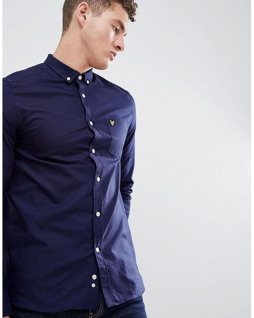 Lyle & Scott - Blue Logo Long Sleeve Oxford Shirt In Navy for Men - Lyst