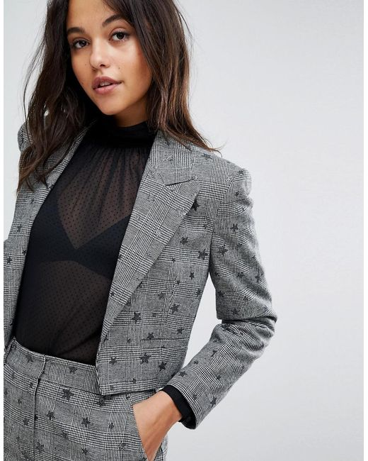 Cheap Sale Prices Miss Selfridge Checked Star Print Cropped Blazer Clearance Official Site HdZRR4