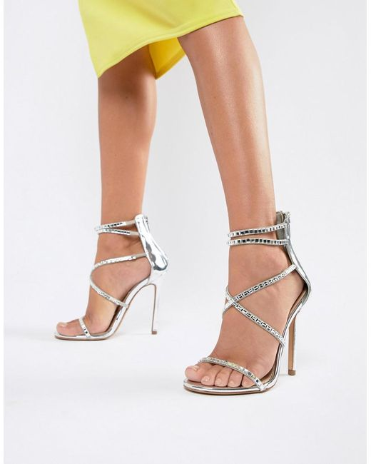 363b9056535 ... Steve Madden - Metallic Bringit Strappy Heeled Sandals - Lyst