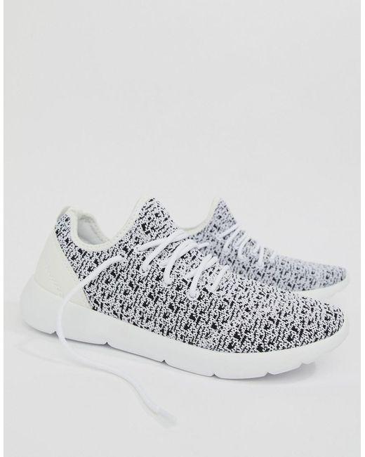 Pull&Bear Knitted Runner Sneaker In Black And UvbWeOmn