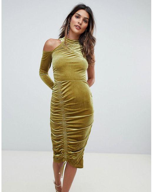 ASOS DESIGN - Green Asos High Neck Ruched Velvet Midi Bodycon Dress - Lyst