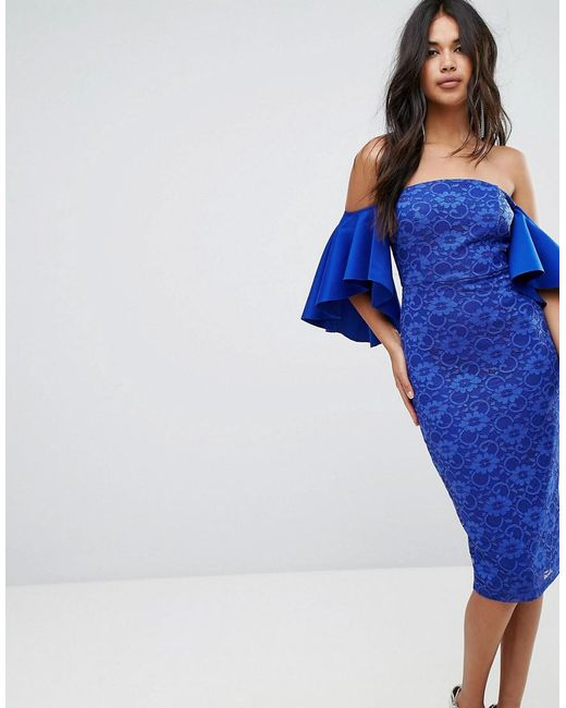 ASOS - Blue Asos Lace Bardot Midi Dress With Extreme Sleeves - Lyst ... 20e3a9f06