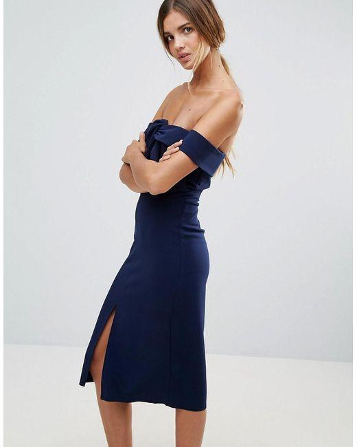 True Decadence - Blue Premium Bardot Scuba Pencil Dress With Knot Front Detail - Lyst