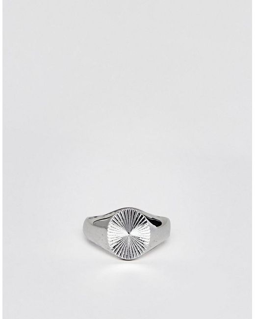 Seven London Silver Signet Ring With White Stone - Silver sH7er