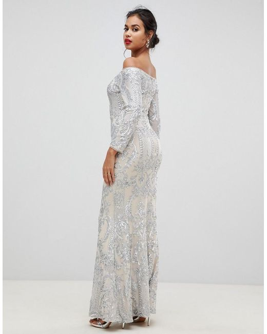 b0853b25ea3863 ... Bariano - Metallic Embellished Patterned Sequin Off Shoulder Maxi Dress  In Silver - Lyst
