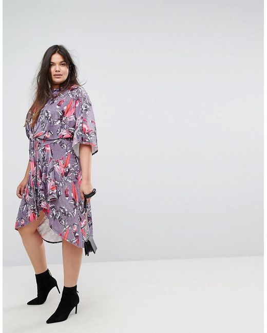 Discount Best Seller Floral Velvet Twist Front Dress - Multi Simply Be Cheap Great Deals yW5ao