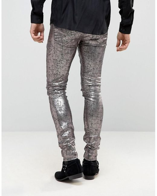 ... ASOS - Metallic Super Skinny Jeans With Silver Cracked Effect for Men -  Lyst ...