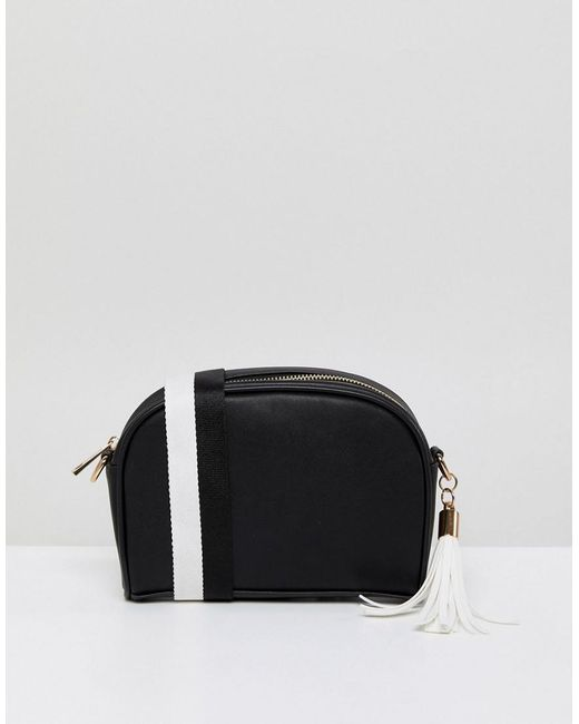 London Rebel - Black And White Quilted Crossbody Bag With Tassel Detail - Lyst