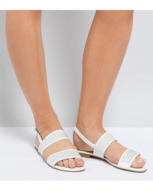 Truffle Collection - White Wide Fit Studded Flat Sandal - Lyst