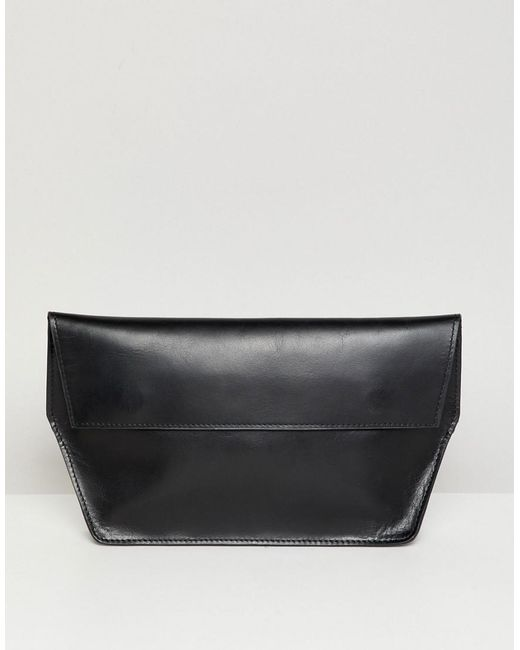ASOS - Black Structured Leather Foldover Clutch Bag - Lyst