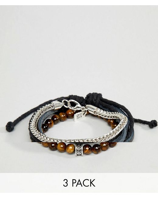 Icon Brand - Black Leather & Brown Beaded Bracelets In 3 Pack for Men - Lyst