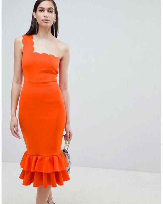 ASOS DESIGN - Orange One Shoulder Scallop Pephem Midi Dress - Lyst