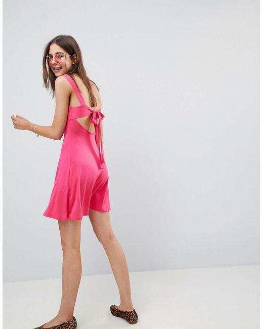 DESIGN mini swing sundress with tie back - Pink Asos a1V7V