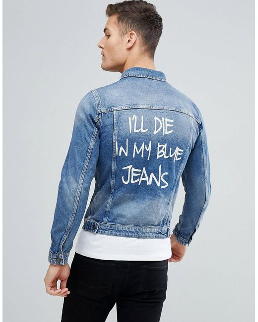 lyst jack jones intelligence denim jacket with back. Black Bedroom Furniture Sets. Home Design Ideas