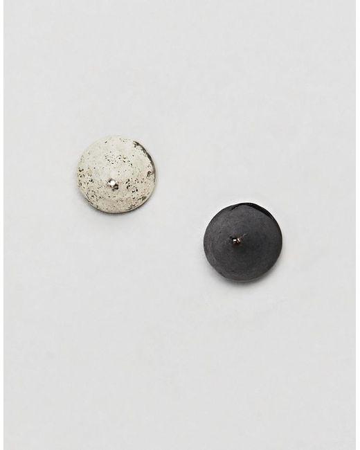 Classics 77 - Silver & Matte Black Spike Stud Earrings In 2 Pack - Lyst