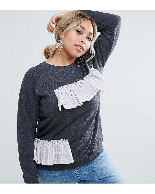 ASOS | Gray Sweat With Placed Gingham Ruffle | Lyst