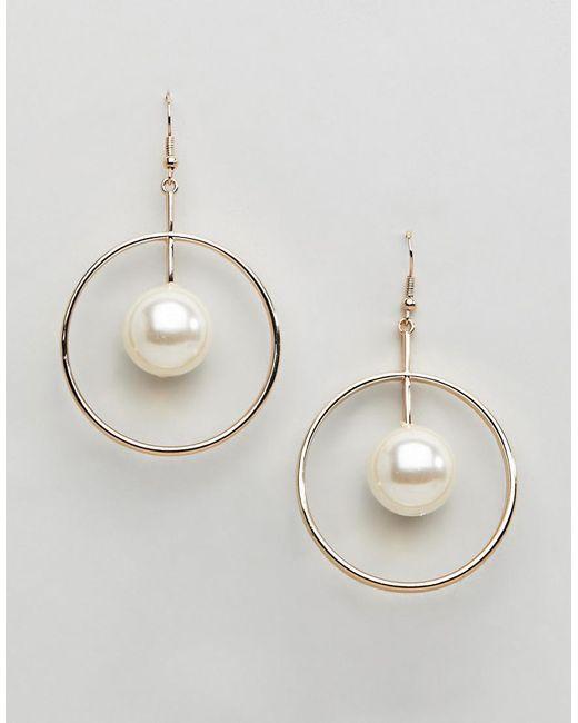 Ashiana - Metallic Hoop Earrings With Drop Detail - Lyst