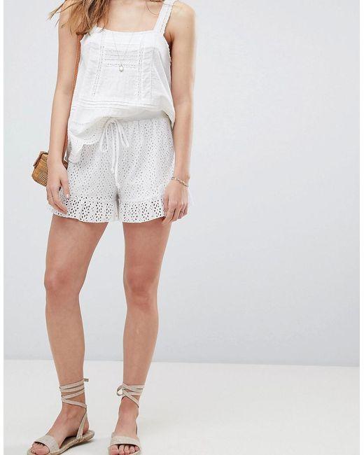 ASOS - White Shorts In Summer Cotton Broderie - Lyst