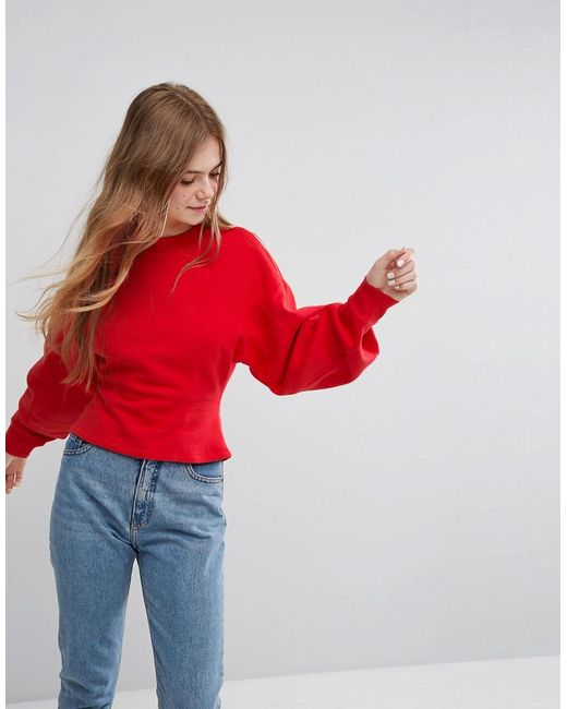 Monki | Red Fitted Balloon Sleeve Sweat | Lyst