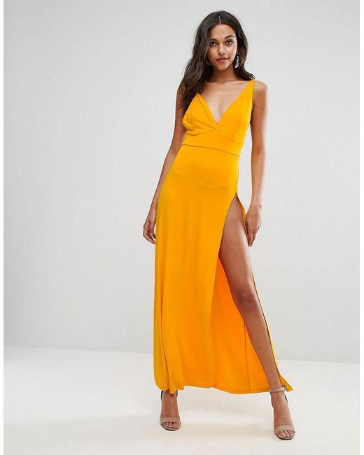 ASOS | Orange Super Thigh Split Maxi Dress | Lyst