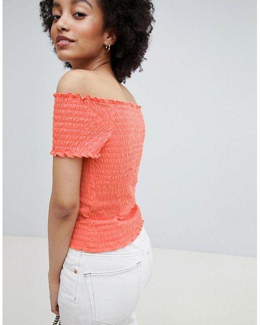 Cheap Sale Deals For Cheap For Sale Smock Off Shoulder Top - Orange Only Cheap Sale New mwwNJbMOJ