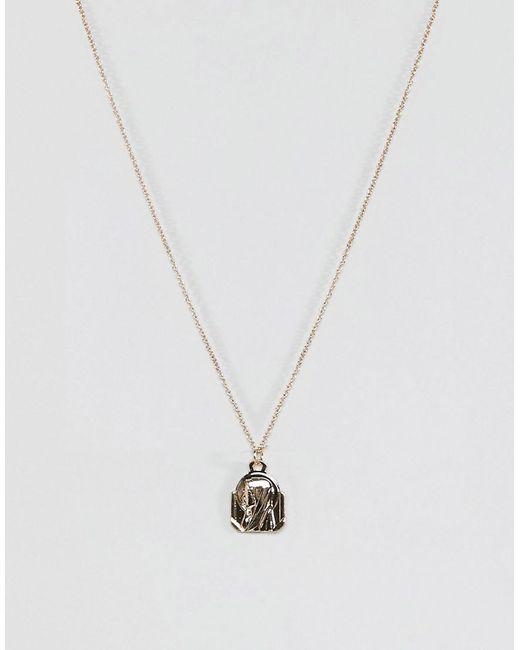 ASOS - Metallic Vintage Style Icon Pendant Necklace - Lyst