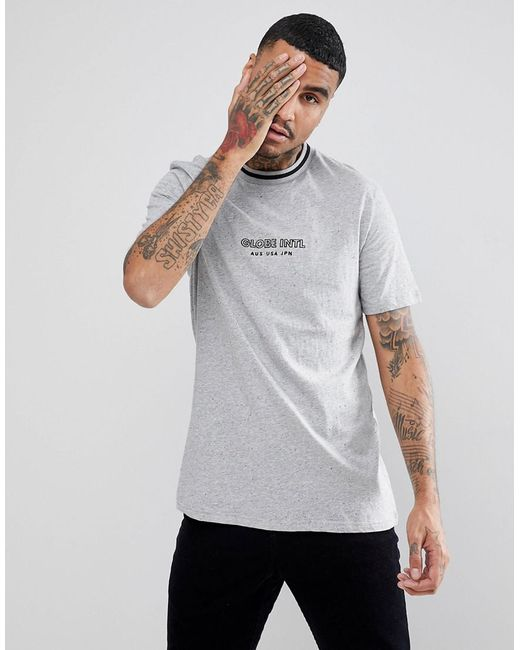 Globe - Gray New Yorker T-shirt With Rib Neckline In Grey for Men - Lyst