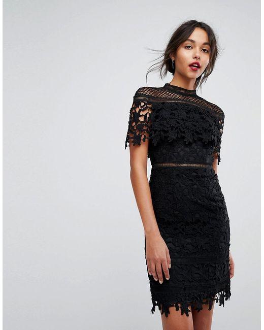 9784029ae819 Chi Chi London Lace High Neck Mini Dress In Black in Black - Lyst