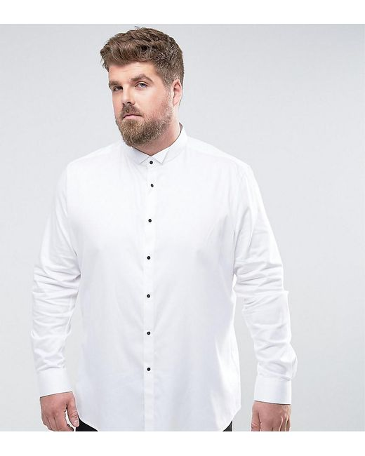 ASOS | White Plus Slim Sateen Shirt With Wing Collar And Contrast Buttons for Men | Lyst