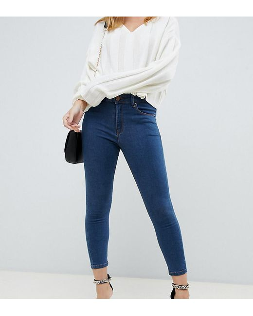 a609a0dc0cc77 ASOS - Asos Design Petite Ridley High Waist Skinny Jeans In Rich Mid Blue  Wash ...