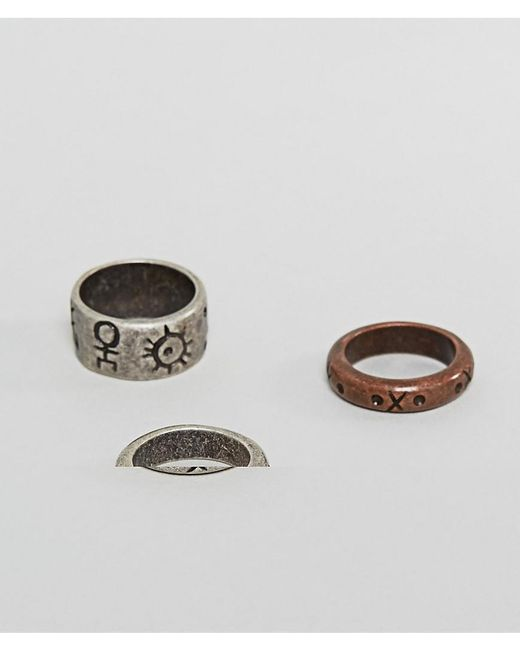 ASOS   Multicolor Ring Pack In Mixed Metals And Geo- Emboss for Men   Lyst