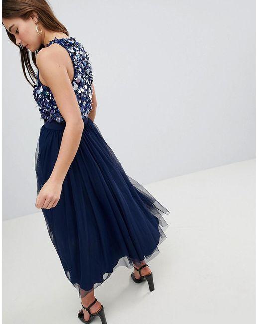 651c4e5bd5b1 ... ASOS - Blue Asos Embellished Cluster Crop Top Tulle Midi Dress - Lyst