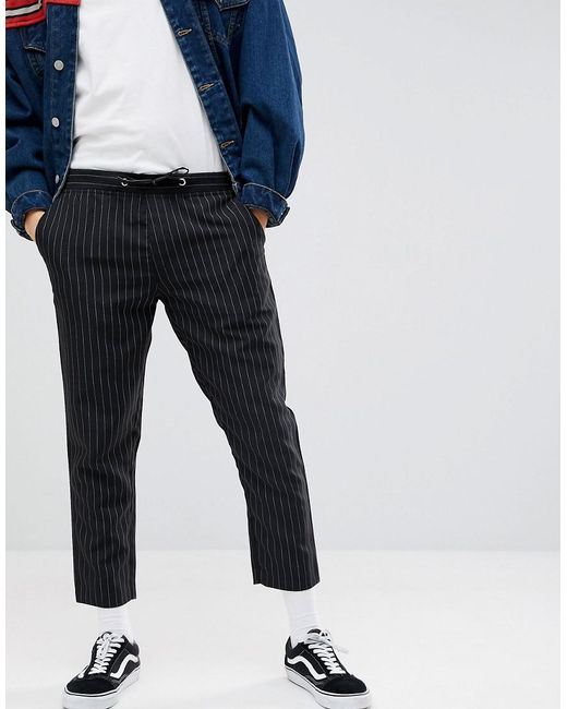 4e8690a018ee Lyst - BoohooMAN Pinstripe Cropped Trousers In Black in Black for Men