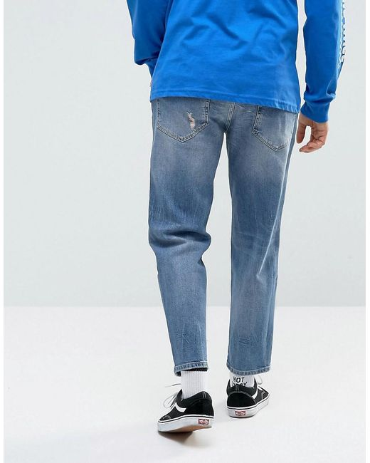 Skater Jeans In Mid Wash Blue With Abrasions - Mid wash blue Asos Free Shipping Fashionable Cheapest For Sale Free Shipping Fast Delivery From China uIvW4V