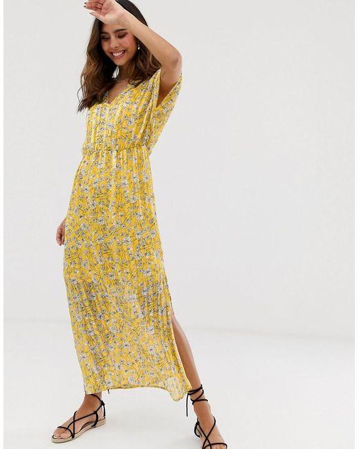 83610973c038 Vero Moda - Yellow Sheer Stripe Floral Printed Maxi Dress - Lyst ...