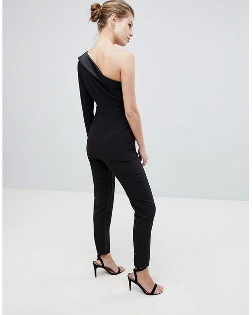 1f236802935 ... Vesper - Black One Shoulder Jumpsuit - Lyst