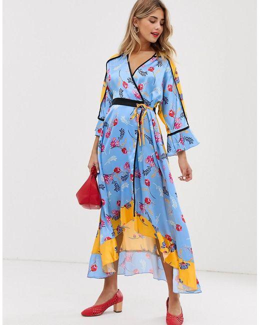 Liquorish - Yellow Kimono Midi Dress In Mixed Print Floral - Lyst ... 5f0b3370b