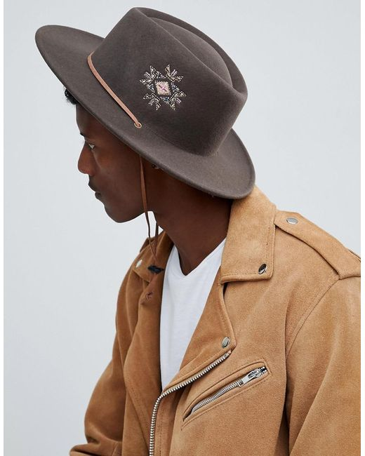 ASOS - Brown Pork Pie Hat With Wide Brim With Embroidery And Strap Detail for Men - Lyst