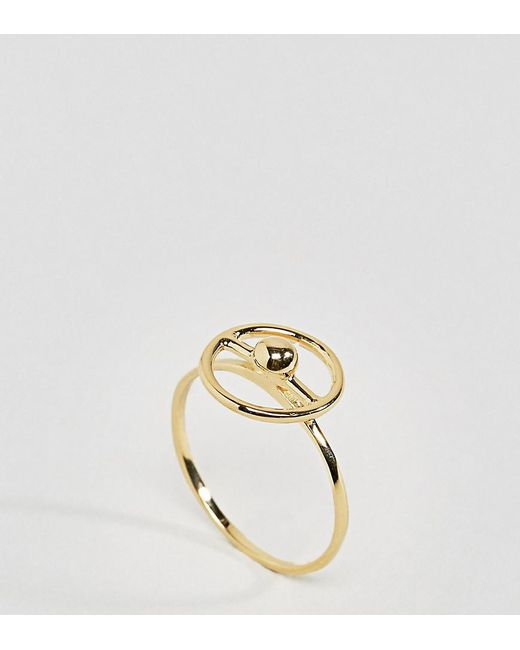 ASOS | Metallic Gold Plated Sterling Silver Sphere Surround Ring | Lyst