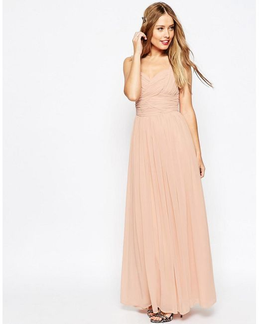 Asos Wedding Ruched Panel Maxi Dress In Pink