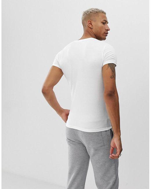 3aeb626809 Emporio Armani Slim Fit Eva Logo Lounge T-shirt In White in White ...