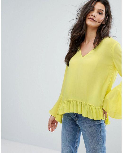 Mango | Yellow Ruffle Flute Sleeve Top | Lyst