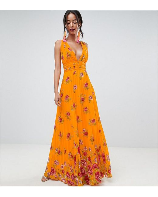 ASOS - Orange Asos Design Tall Border Floral Pleated Cami Maxi Dress - Lyst
