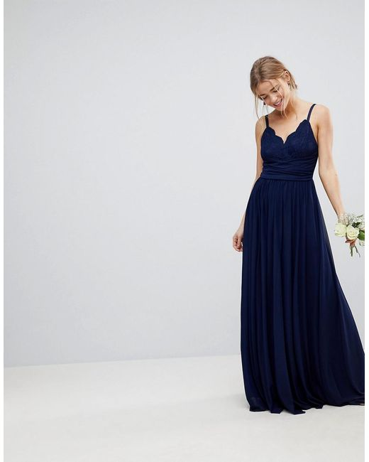 ASOS - Blue Cami Maxi Dress With Lace Insert - Lyst