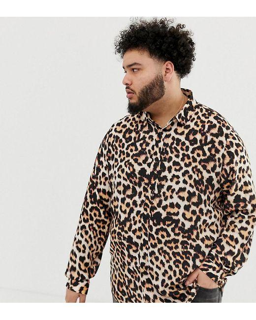 Asos Brown Plus Regular Fit Leopard Print Shirt For Men Lyst