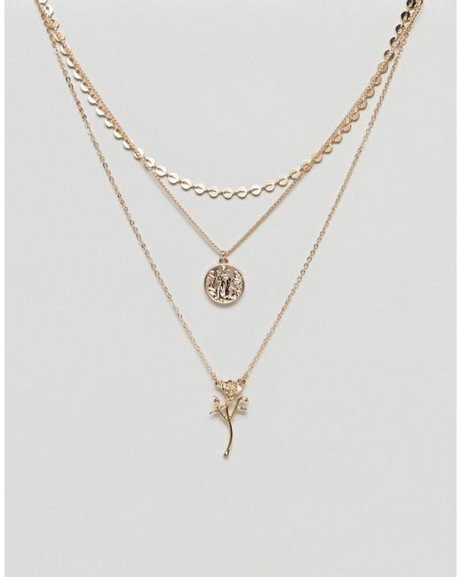 ASOS - Metallic Asos Vintage Style Rose And Coin Pendant Multirow Necklace - Lyst